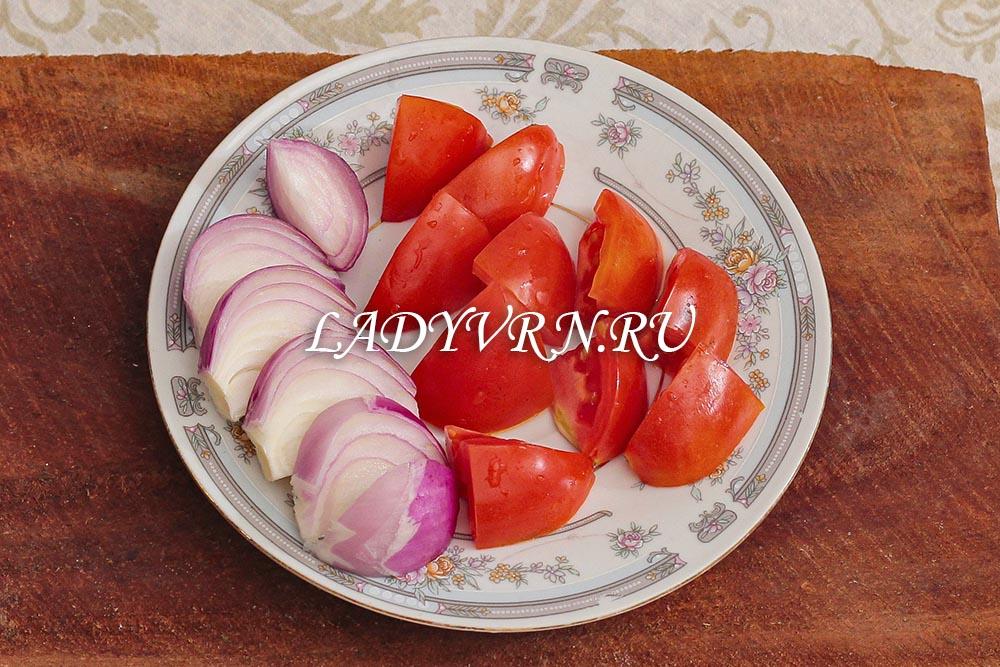 овощи для рыбного шашлыка на шпажках